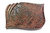 Generic Grabplatte, Grabstein, Grabkissen, Urnengrabstein, Liegegrabstein Modell Eterna 40 x 30 x 7 cm Paradiso-Granit, Poliert inkl. Gravur (Aluminium-Ornament Rose 2)