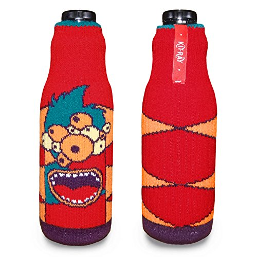 KIT-RAY Lustiges Monster Mr.PINK/Mr.RED/Mr.ORANGE/Mr.Happy/Mr.SAD Flaschenabdeckung Flasche Koozie Bottle by CUP OF SOX (Rot)