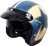 Duchinni D501 Frontal Abierto Retro Casco De Moto azul/rojo - Rojo/Azul, Medium