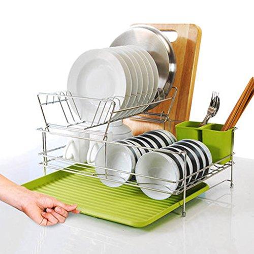 Pratique Gadgets Cuisine Bol en acier inoxydable rack Baguettes Bowl pour rack mettre le bol de cuisine Racks Double Dish Layer Racks YYdy-Kitchen tools ( couleur : Vert )