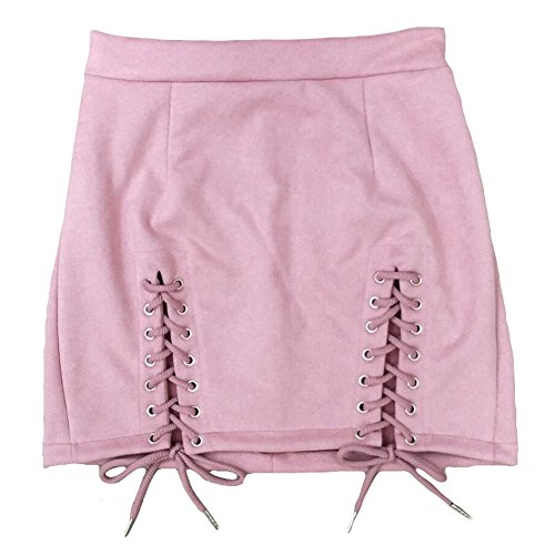 Femmes Jupes Suede Pink Pencil taille haute Bodycon hibote Vintage Lace Up Mini jupe Rose
