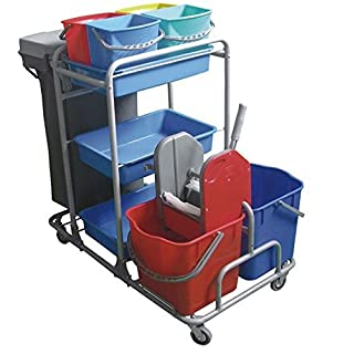 Aviva Esila Master Reinigungswagen 2x25 Liter Eimer mit Presse 4x5 Liter Eimer,3 Ablagekörbe inkl. Müllsack und Halterung Systemwagen