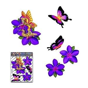 Fee Fantasie Frangipani Plumeria Lila Blume + Schmetterling Tier Abziehbild Auto Aufkleber - ST00062PL_SML - JAS Aufkleber