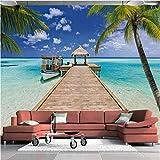 zhimu Personnalisé 3D Photo Papier Peint Mural Été Plage Paysage Palm Seagull Hall Chambre Salon Canapé TV Fond Papier Peint-350cmx256cm