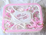 #8: Cuddles Plastic Fold-able Portable Hanging Dryer Clothes Drying Hanger Rack with 24 Clips (Pink)
