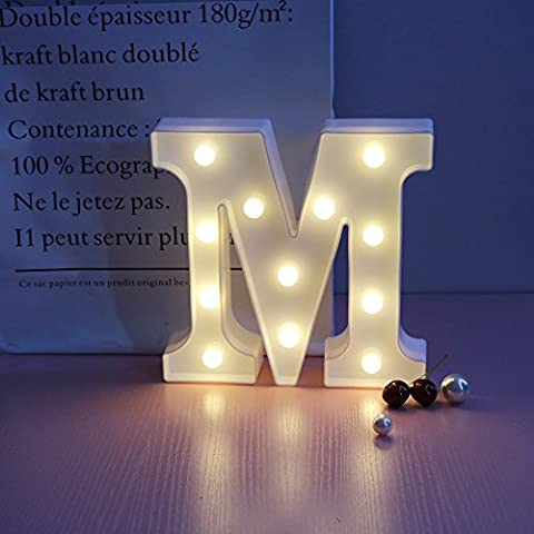 Letters Alphabet LED Marquee Light Sign, A-Z Plastic Table Night Lamps, Lighting up Words, for Birthday Wedding Party Bedroom, Wall Hanging Decor-M