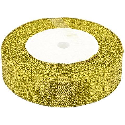 PandaHall-cinta de la chispa, Material de bricolaje para Organza Arco, doble cara, vara de oro, 25mm, 25yards / rollo