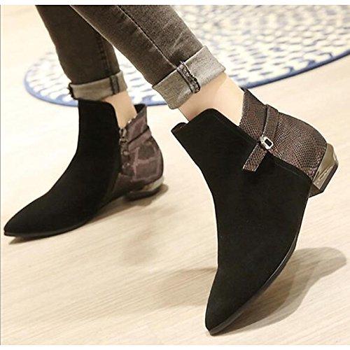 HSXZ Scarpe donna Vera Pelle Nabuck Pelle molla rientrano la comodità di moda Stivali Stivali blocco tacco stivaletti/stivaletti di abbigliamento casual nero Black
