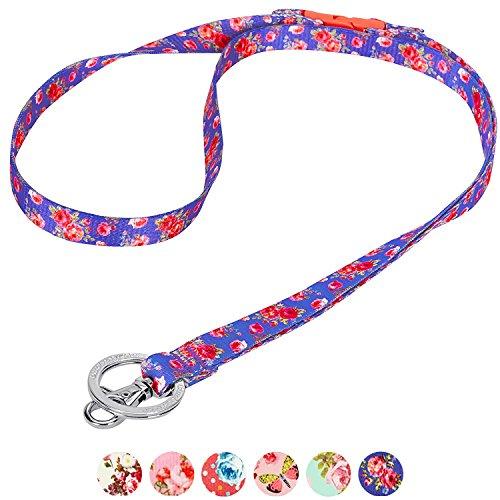 Blueberry Pet Frühlingsduft Inspiriertes Pinke Rosen Muster Irisch-Blau Damenmode Lanyard Schlüsselband für Schlüssel/Ausweis / Anhänger, 1.25cm (B)