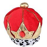 thematys Rot-Goldene Königskrone König-Krone Mütze aus Stoff - Kostüm für Erwachsene - perfekt für Fasching, Karneval & Halloween - Einheitsgröße Damen Herren