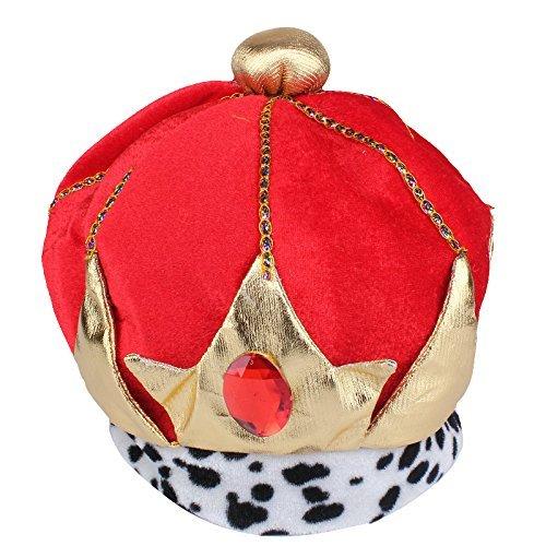 thematys Rot-goldene Königskrone König-Krone Mütze aus Stoff - Kostüm für...