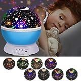 Sternenhimmel Projektor, Led Nachtlicht, Projektor Lampe, 360° Grad Rotation LED Kinderlampe Nachtlampe Schlafzimmer Nachtlicht, Kinder (8 Licht Modus) - Blau