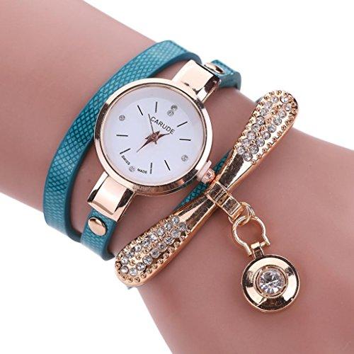 LSAltd Heiß Verkauf!!! Frauen Mädchen Klassische Lederne Rhinestone Uhr analoge Quarz Armbanduhren Großes Geschenk (Blau)