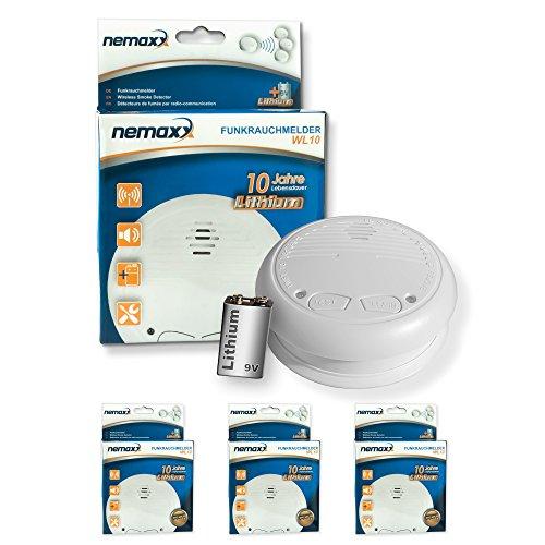 3x Nemaxx WL10 Funkrauchmelder - mit 10 Jahre Lithium Batterie Rauchmelder Feuermelder Set Funk koppelbar vernetzt - nach EN 14604