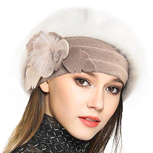 VECRY Damen Wolle Barette Angola Kleid Beanie Schädel Mützen Stricken Winter Hüte (Sahne) -