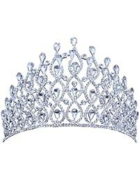 Santfe Color argento cristallo di lusso corona per nozze sposa tiara Big Crown  strass nuziale corona 19f366877550