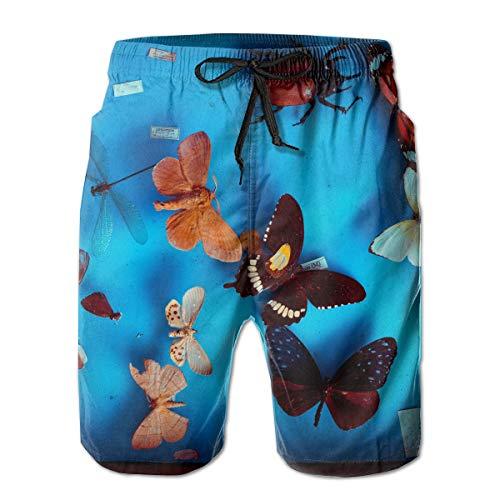 jiger Mens Swim Trunks Summer Cool Quick Dry Board Shorts Bathing Suit,Multicolored Butterflies Taxidermy,Beach Shorts Swim Trunks