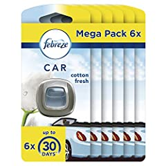 Idea Regalo - Ambi Pur Car Nuvole di Cotone - Freschezza Naturale Deodorante per Auto Mega Pack, 6 x 12ml
