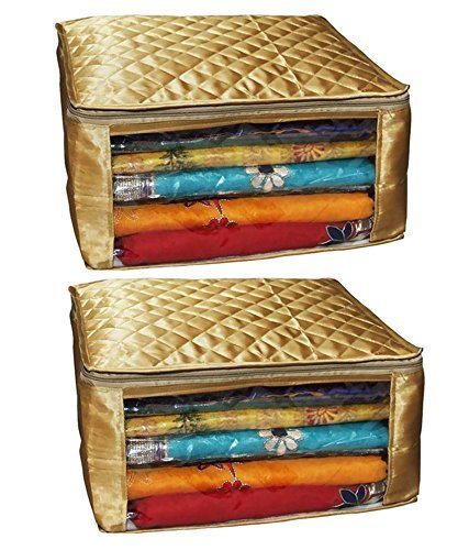 Kuber Industries™ Saree cover Set of 2 Pcs large size in golden...