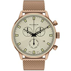 Blenheim London® Chronomaster Beige Dial Pilot Watch with Rose Gold Case and Rose Gold Stainless Steel Strap