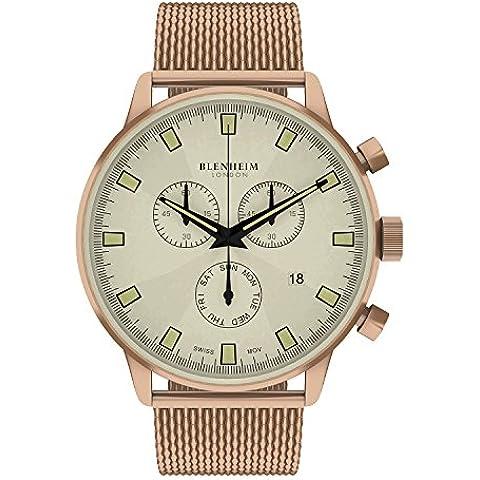 Blenheim Londres® Chronomaster color beige Dial reloj de piloto con oro rosa Funda y correa de acero inoxidable color oro