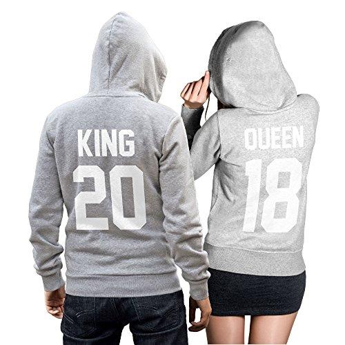 King Queen + Wunschnummer Set 2 Hoodies Pullover Pulli Liebe Love Pärchen Couple Grau (King Gr. M + Queen Gr. S)