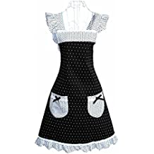 Hyzrz Latest Princess Style Design Women Girls Ladies Cotton Apron White Fashion Polka Dot with Two Pockets for Cooking Kitchen by Hyzrz