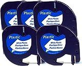 5x Schriftbandkassette für Dymo LetraTag schwarz auf weiß 12mm breit