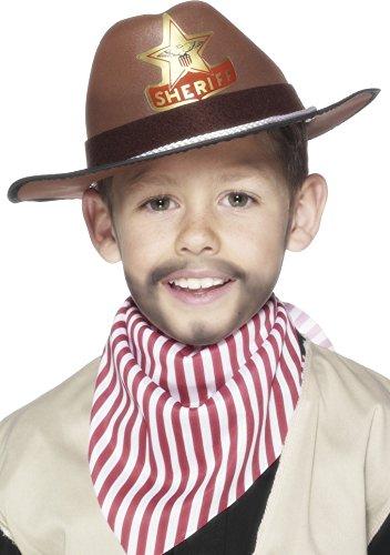Smiffys, Kinder Jungen Cowboy Hut Mit Sheriff Button, One Size, Braun, 22535