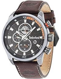 Timberland Henniker II 14816JLU/02 – Reloj analógico para caballero con pantalla negra y correa de piel marrón oscuro (mecanismo de cuarzo).