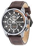 Timberland Henniker II 14816JLB/02, orologio al quarzo con quadrante analogico nero e cinturino in pelle marrone scuro, da uomo