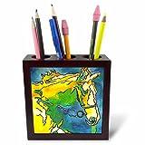 3dRose PH 46773_ 1Pferd und bridle-bridle, Reitsport, Reiten, Halfter, Pferd, Pferd Inhaber, Pferd riding-tile Stifthalter, 12,7cm