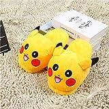 Damen Gelb Cartoon Soft Bottom Slippers Startseite Frauen Warm Cute Emoji Hausschuhe Pokemon Pikachu Plüsch Cosy Slippers-37/38