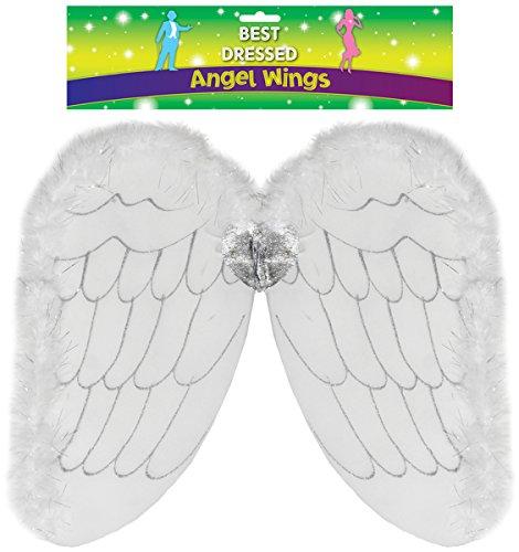 White & Silbernen Feder Getrimmt Dress Up Kinder-Angel Wings [Spielzeug] (Angel Dress Up Für Kinder)