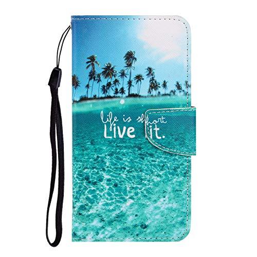 Nadoli Galaxy A70 Hülle,Meer Muster PU Leder Magnetisch Flip Brieftasche mit Handschlaufe Kartenslot Ständer Klapphülle für Samsung Galaxy A70