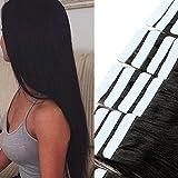 Tape Extensions Echthaar -100% Remy Echthaar Haarverlängerung glatt Naturschwarz,40cm-50g (20 stück+10pcs free tapes)