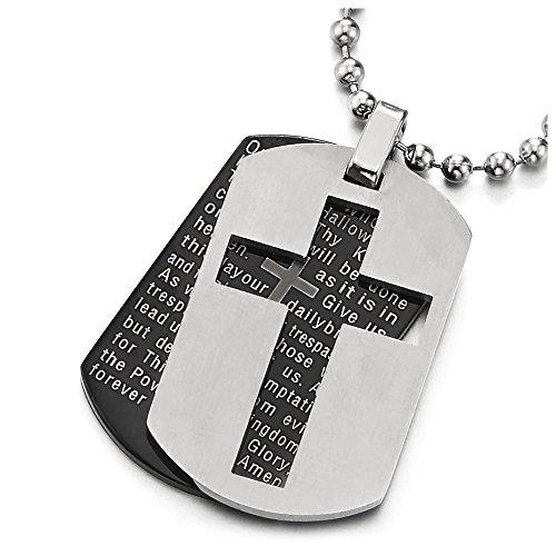 Zwei Stücke Herren Silber Schwarz Bibel Vers Bibelvers Kreuz Anhänger Dog Tag Edelstahlkette, 60cm Stahl Kugelkette