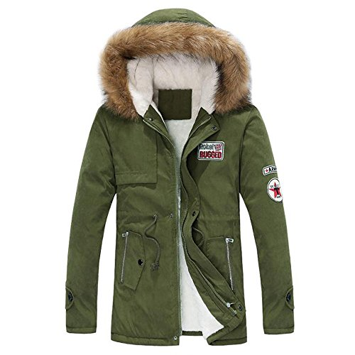 Herren Mäntel,Honestyi Herren Herbst Winter Zipper Long Cotton Jacke Men Hooded Coat Bluse (Armee Grün, M)
