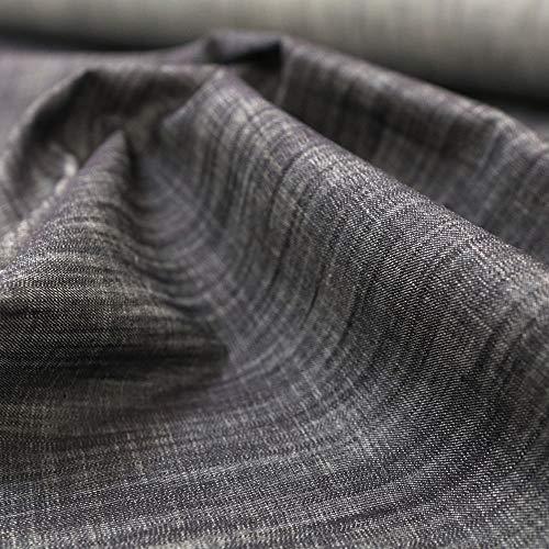 TOLKO Baumwollstoffe Sommer Jeans Stoff in Leinen-Optik | weicher Bekleidungsstoff für Hose Jacke Rock aus 100% Baumwolle | Meterware 155cm breit (Rauch Schwarz)