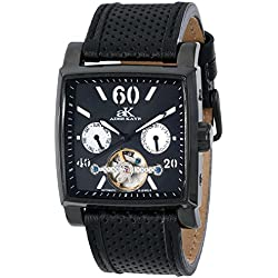 Adee Kaye Ak9043 Herren Automatikwerk Schwarz Leder Armband Uhr ak9043-MIPB