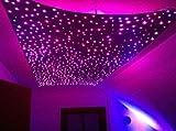 Sternenhimmel LED Set Beleuchtung Twin Star in Glasfaser Optik, 400 Lichtfasern 1,0mm, inkl. Projektor, Funkfernbedienung für Farbwechsel 12 Watt dimmbar, Sprühkleber, Bohrer-Set und 20 Endkappen für die Montage