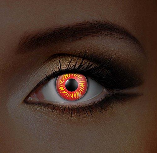 Funky Vision Kontaktlinsen I-Glow - 12 Monatslinsen, Wolf Eye UV, Ohne Sehstärke, 1 Stück (Besten Wolf Kostüm)