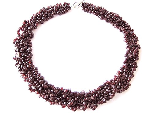 Halskette aus Granat in Splitterform mehrreihig aufgezogen L-47 cm