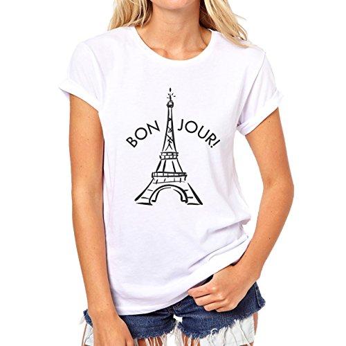 Bonjour Paris Eiffel Tower Black And White Damen T-Shirt Weiß