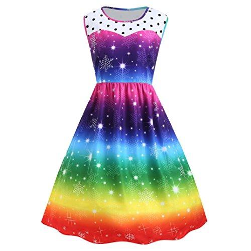 Malloom® Womens Weihnachten Rainbow Party Kleid Vintage Xmas Swing Kleid (mehrfarbig, XXL) (Top Tank Damen Rainbow)