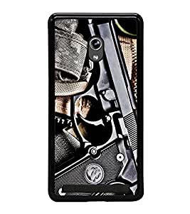 Fuson Premium 2D Back Case Cover GUN With Brown Background Degined For Asus Zenfone 5::Asus Zenfone 5 A500CG
