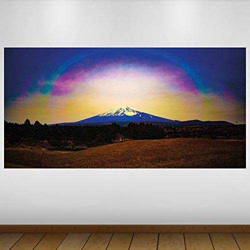 LagunaProject Extra Grande Púrpura Monte Fuji Japón Resumen de Vinilo Póster - Mural Decoración - Etiqueta de la Pared -140cm x 70cm