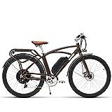 MSEBIKE Comet 700C Bicicleta Eléctrica 48 V 13Ah 500 W Bicicleta Eléctrica de Alta Velocidad 5 Nivel Pedal Assist Largo Endurance Ebike Retro Estilo (marrón)