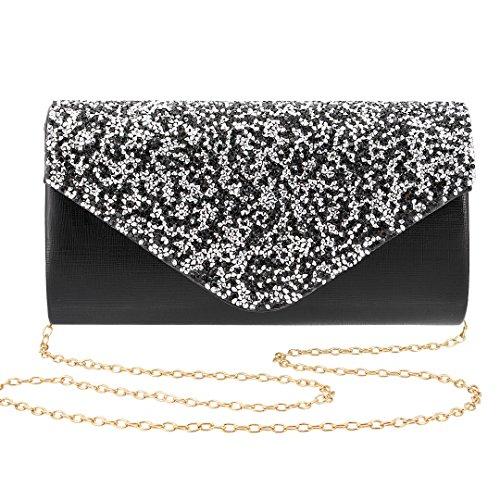 Novias Boutique Frauen Shiny Abend Party Bag Hochzeit Handtasche Clutch mit Strass (Schwarz) schwarz