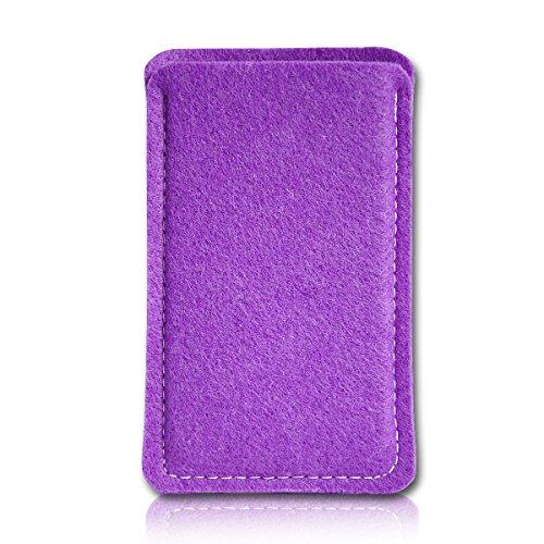 Filz Style Wiko Riff Premium Filz Handy Tasche Hülle Etui passgenau für Wiko Riff - Farbe purple
